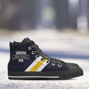 Designs by MyUtopia Shout Out:Diehard Michigan Fan Canvas High Top Shoes - Blue and Gold