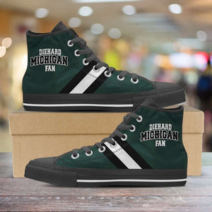 Designs by MyUtopia Shout Out:Diehard Michigan Fan Canvas High Top Shoes - Green and White,Men's / Mens US 5 (EU38) / Green/White,High Top Sneakers