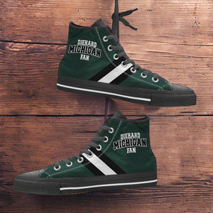 Designs by MyUtopia Shout Out:Diehard Michigan Fan Canvas High Top Shoes - Green and White