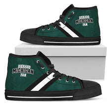 Load image into Gallery viewer, Designs by MyUtopia Shout Out:Diehard Michigan Fan Canvas High Top Shoes - Green and White