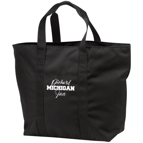 Designs by MyUtopia Shout Out:Diehard Michigan Fan Port & Co. All Purpose Tote Bag w Zipper Closure and side pocket,Black/Black / One Size,Totebag