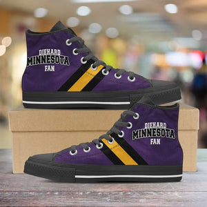Designs by MyUtopia Shout Out:Diehard Minnesota Fan Canvas High Top Shoes,Men's / Mens US 5 (EU38) / Violet/Gold,High Top Sneakers