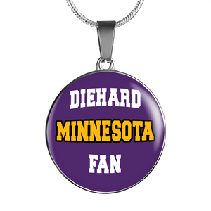 Designs by MyUtopia Shout Out:Diehard Minnesota Fan Handcrafted Jewelry,Luxury Necklace w/ adjustable snake-chain / Violet,Necklace