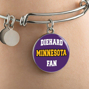 Designs by MyUtopia Shout Out:Diehard Minnesota Fan Handcrafted Jewelry,Bangle-Bracelet adjustable / Violet,Necklace
