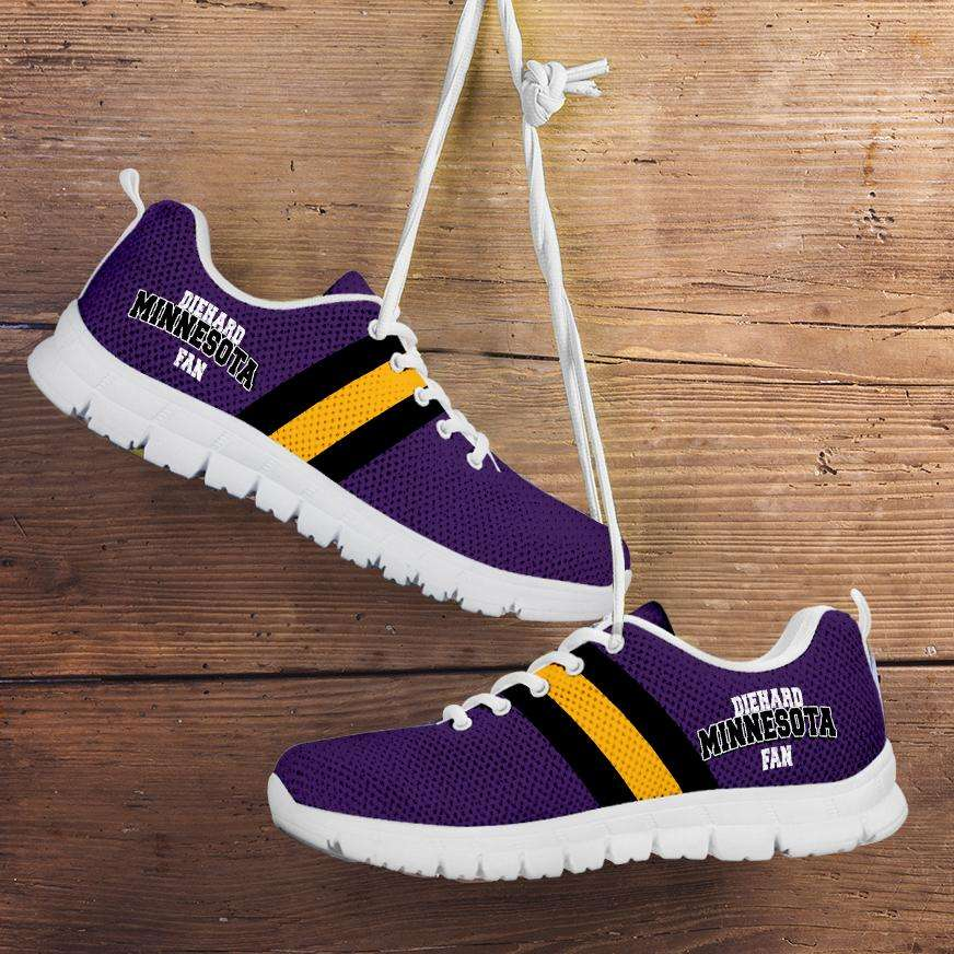 Designs by MyUtopia Shout Out:Diehard Minnesota Fan Running Shoes,Kid's / 11 CHILD (EU28) / White/Purple,Running Shoes