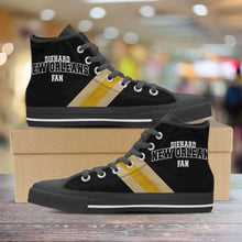Load image into Gallery viewer, Designs by MyUtopia Shout Out:Diehard New Orleans Fan Canvas High Top Shoes,Men's / Mens US 5 (EU38) / Black/Yellow,High Top Sneakers