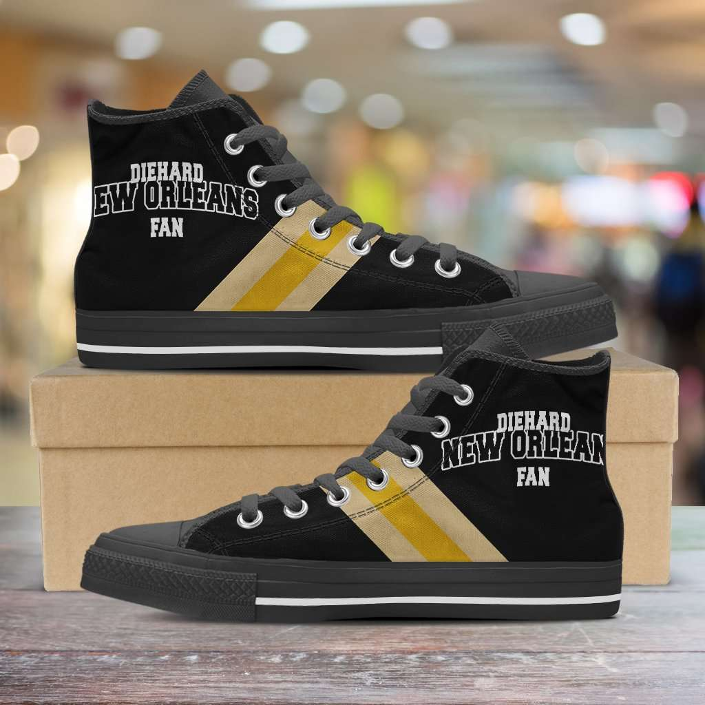 Designs by MyUtopia Shout Out:Diehard New Orleans Fan Canvas High Top Shoes,Men's / Mens US 5 (EU38) / Black/Yellow,High Top Sneakers