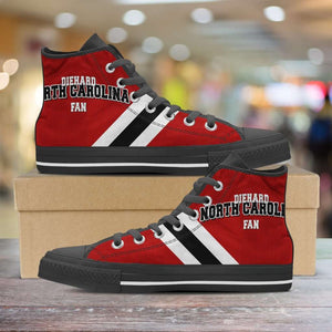 Designs by MyUtopia Shout Out:Diehard North Carolina Fan Canvas High Top Shoes,Men's / Mens US 5 (EU38) / Red/White,High Top Sneakers