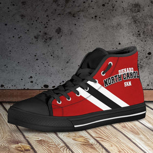 Designs by MyUtopia Shout Out:Diehard North Carolina Fan Canvas High Top Shoes