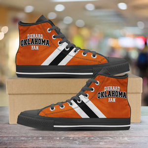 Designs by MyUtopia Shout Out:Diehard Oklahoma Fan in Orange Canvas High Top Shoes,Men's / Mens US 5 (EU38) / Orange,High Top Sneakers