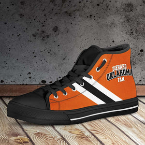 Designs by MyUtopia Shout Out:Diehard Oklahoma Fan in Orange Canvas High Top Shoes