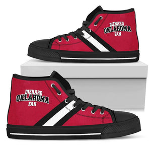 Designs by MyUtopia Shout Out:Diehard Oklahoma Sooners Fan Canvas High Top Shoes