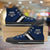 Designs by MyUtopia Shout Out:Diehard Penn State Fan Canvas High Top Shoes,Men's / Mens US 5 (EU38) / Dark Blue,High Top Sneakers