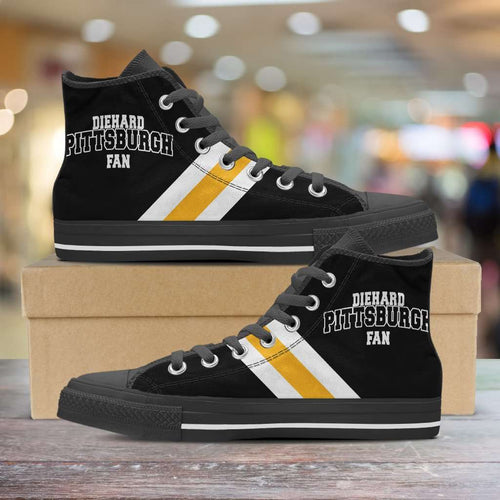 Designs by MyUtopia Shout Out:Diehard Pittsburgh Fan Canvas High Top Shoes,Men's / Mens US 5 (EU38) / Black,High Top Sneakers