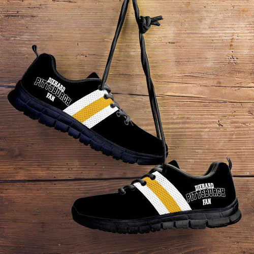 Designs by MyUtopia Shout Out:Diehard Pittsburgh Fan Running Shoes,Kid's / 11 CHILD (EU28) / Black,Running Shoes
