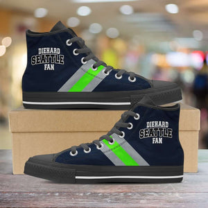 Designs by MyUtopia Shout Out:Diehard Seattle Fan Canvas High Top Shoes,Men's / Mens US 5 (EU38) / Dark Blue/Bright Green,High Top Sneakers
