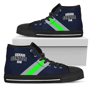 Designs by MyUtopia Shout Out:Diehard Seattle Fan Canvas High Top Shoes