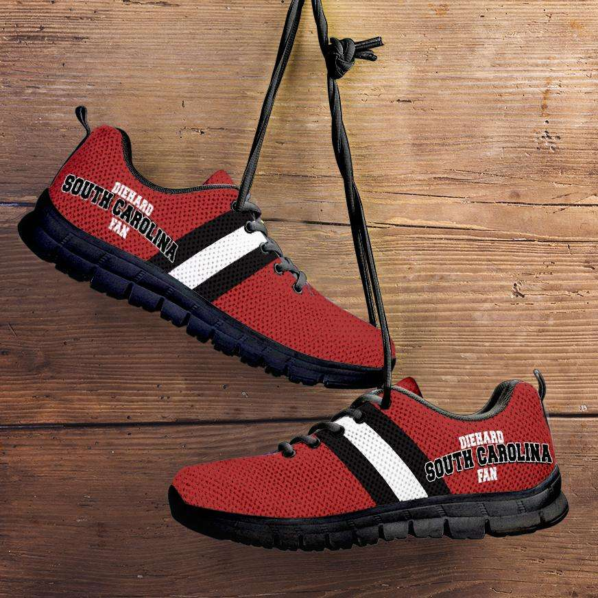 Designs by MyUtopia Shout Out:Diehard South Carolina Fan Running Shoes,Kid's / 11 CHILD (EU28) / Red/White/Black,Running Shoes