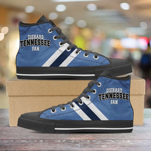 Designs by MyUtopia Shout Out:Diehard Tennessee Titans Fan Canvas High Top Shoes,Men's / Mens US 5 (EU38) / Blue,High Top Sneakers
