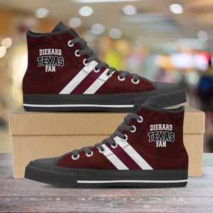 Designs by MyUtopia Shout Out:Diehard Texas Aggies Fan Canvas High Top Shoes,Men's / Mens US 5 (EU38) / Maroon,High Top Sneakers