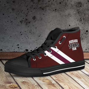 Designs by MyUtopia Shout Out:Diehard Texas Aggies Fan Canvas High Top Shoes