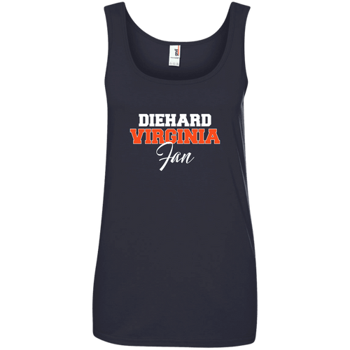 Designs by MyUtopia Shout Out:Diehard Virginia Fan Anvil Ladies' 100% Ringspun Cotton Tank Top,Navy / S,Tank Tops