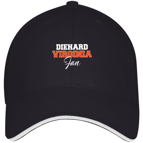 Designs by MyUtopia Shout Out:Diehard Virginia Fan Embroidered Bayside USA Made Structured Twill Cap With Sandwich Visor,Navy/White / One Size,Hats
