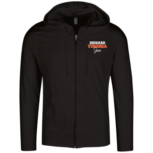 Designs by MyUtopia Shout Out:Diehard Virginia Fan Embroidered District Lightweight Full Zip Hoodie,Black / X-Small,Sweatshirts