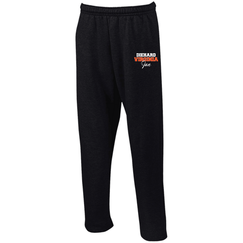 Designs by MyUtopia Shout Out:Diehard Virginia Fan Embroidered Gildan Open Bottom Sweatpants with Pockets,Black / S,Pants