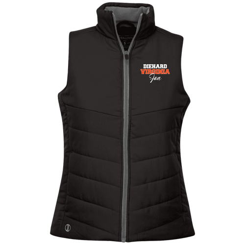 Designs by MyUtopia Shout Out:Diehard Virginia Fan Embroidered Holloway Ladies' Quilted Vest,Black / X-Small,Jackets