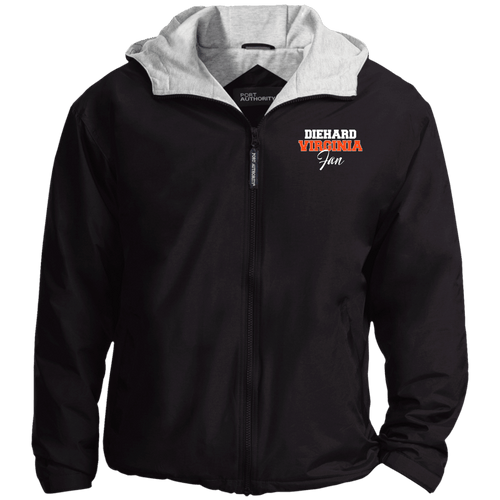 Designs by MyUtopia Shout Out:Diehard Virginia Fan Embroidered Port Authority Team Jacket,Black/Light Oxford / X-Small,Jackets