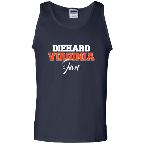 Designs by MyUtopia Shout Out:Diehard Virginia Fan Gildan 100% Cotton Tank Top,Navy / S,Tank Tops