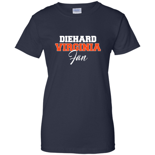 Designs by MyUtopia Shout Out:Diehard Virginia Fan Gildan Ladies' 100% Cotton T-Shirt,Navy / X-Small,Ladies T-Shirts