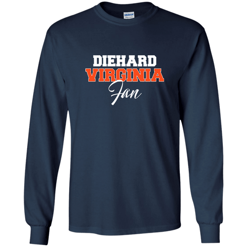 Designs by MyUtopia Shout Out:Diehard Virginia Fan Gildan LS Ultra Cotton T-Shirt,Navy / S,Adult Unisex T-Shirt