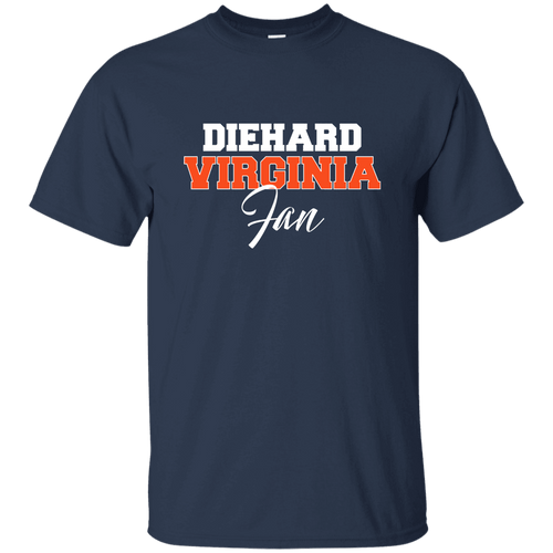 Designs by MyUtopia Shout Out:Diehard Virginia Fan Gildan Ultra Cotton T-Shirt,Navy / S,Adult Unisex T-Shirt