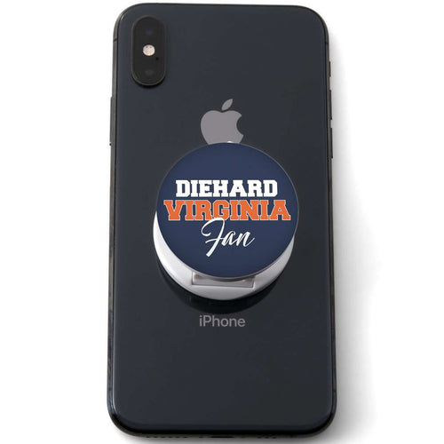 Designs by MyUtopia Shout Out:Diehard Virginia Fan Hinged Pop-out Phone Grip and stand for Smartphones and Tablets