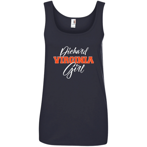 Designs by MyUtopia Shout Out:Diehard Virginia Girl Anvil Ladies' 100% Ringspun Cotton Tank Top - Navy Blue,Navy / S,Tank Tops