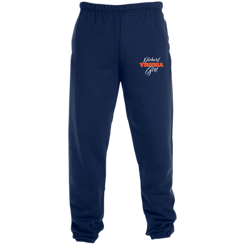 Designs by MyUtopia Shout Out:Diehard Virginia Girl Embroidered Jerzees Unisex Sweatpants with Pockets - Navy Blue,True Navy / S,Pants