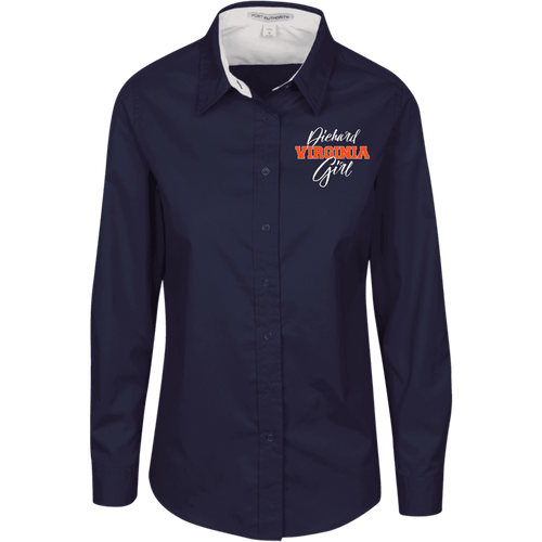 Designs by MyUtopia Shout Out:Diehard Virginia Girl Embroidered Port Authority Ladies' Long Sleeve Blouse - Navy Blue,Navy/Light Stone / X-Small,Dress Shirts