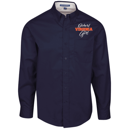 Designs by MyUtopia Shout Out:Diehard Virginia Girl Embroidered Port Authority Men's Long Sleeve Dress Shirt - Navy Blue,Navy/Light Stone / X-Small,Dress Shirts