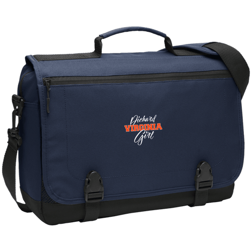 Designs by MyUtopia Shout Out:Diehard Virginia Girl Embroidered Port Authority Messenger Briefcase - Navy Blue,Navy / One Size,Bags