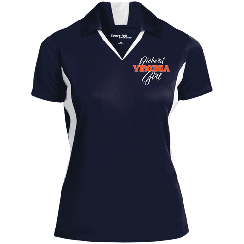 Designs by MyUtopia Shout Out:Diehard Virginia Girl Embroidered Sport-Tek Ladies' Colorblock Performance Polo - Navy Blue,True Navy/White / X-Small,Polo Shirts