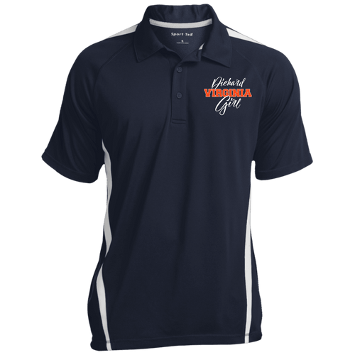 Designs by MyUtopia Shout Out:Diehard Virginia Girl Embroidered Sport-Tek Men's Colorblock 3-Button Polo - Navy Blue,True Navy/White / X-Small,Polo Shirts