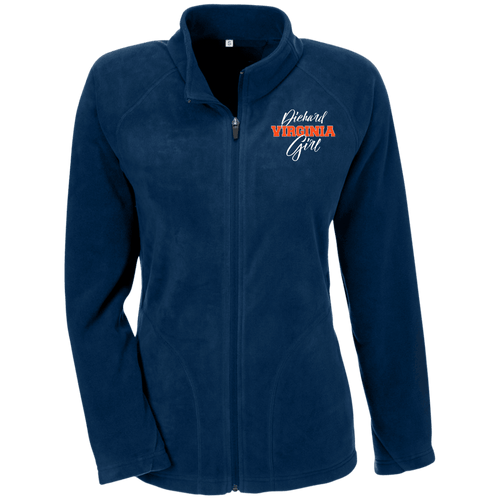 Designs by MyUtopia Shout Out:Diehard Virginia Girl Embroidered Team 365 Ladies' Microfleece Jacket - Navy Blue,Dark Navy / X-Small,Jackets