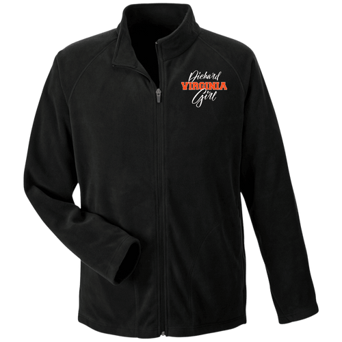 Designs by MyUtopia Shout Out:Diehard Virginia Girl Embroidered Team 365 Microfleece Unisex Jacket - Black,Black / X-Small,Jackets