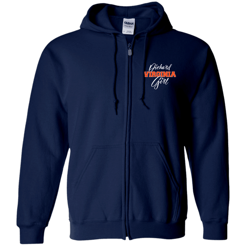 Designs by MyUtopia Shout Out:Diehard Virginia Girl Embroidered Zip Up Hooded Sweatshirt - Navy Blue,Navy / S,Zip Hoodie