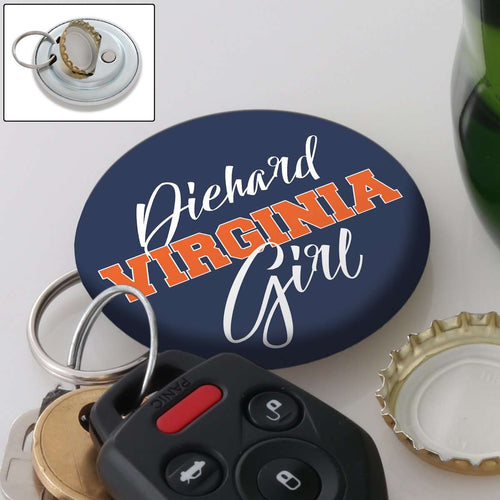 Designs by MyUtopia Shout Out:Diehard Virginia Girl Magnetic Keychain with Bottle Opener