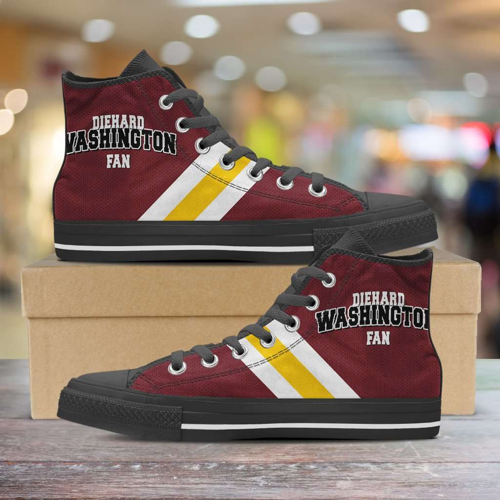 Designs by MyUtopia Shout Out:Diehard Washington Redskins Fan Canvas High Top Shoes,Men's / Mens US 5 (EU38) / Red,High Top Sneakers
