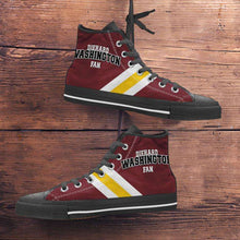 Load image into Gallery viewer, Designs by MyUtopia Shout Out:Diehard Washington Redskins Fan Canvas High Top Shoes