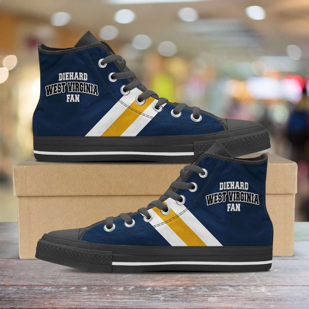 Designs by MyUtopia Shout Out:Diehard West Virginia Fan Canvas High Top Shoes,Men's / Mens US 5 (EU38) / Blue,High Top Sneakers